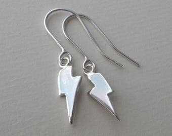 Silver Lightning Bolt  Drop Earrings