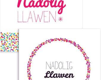 Pack of 6 or 12 Welsh Christmas Cards. Cardiau Nadolig Cymraeg - pecyn o 6 neu 12
