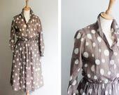 Vintage Giant Polkadot Shirt Dress