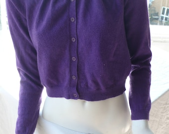 Purple cropped cardigan cotton cashmere mix UK 12
