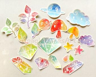 Colorful Stickers, Rainbow Sticker, Crystal Sticker, Skateboard Sticker, Kawaii Sticker, Laptop Decal, Waterproof Sticker, Tumbler Stickers