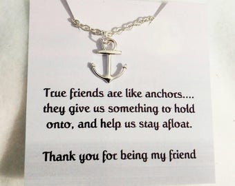 Friendship necklace - best friend necklace - gift for her - jewelry - friendship necklaces - You are my anchor - anchor necklace - anchor