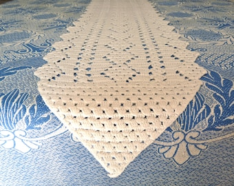 French Table Runner - French antique - Little Table Runner - french linen & handworked lace CROCHET Table Runner - Antique french Linen