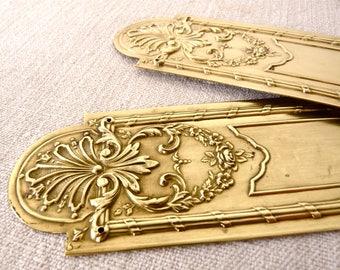 2 Large Door Plates - French Door plate - Louis XVI Escutcheon - 18th century Style - Brass repoussé - Door finger Plate - Door Push Plate