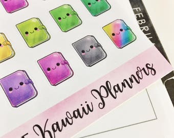 0045 Rainbow Multi Colored Kawaii Planners Functional Sheet of Stickers Planner Stickers Erin Condren Life Planner Happy Planner