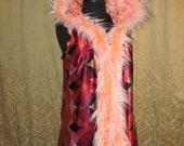Reversible Burning Man Orange Long Unisex Vest with Pink Fur Trim