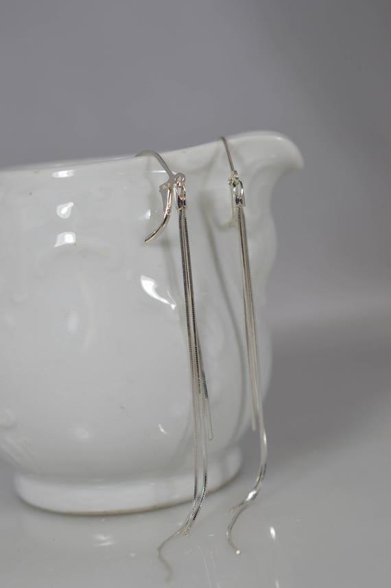 Sterling Silver Tassel Earring Pair - Feather Threader Earrings