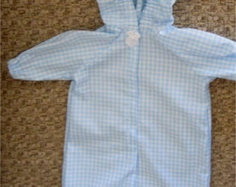 Blue & White Checked Baby Hooded Bunting Wrap  Fits Bitty Baby, Bitty Twin or Other 15 Inch Baby Doll