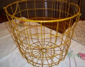 Large metal basket, farmhouse gathering vegetable produce wire side handles, kitchen bathroom storage 12x13.5
