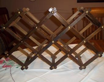 vintage wood accordion wine liquor rack rustic expandable 10 slot multi use bath towels