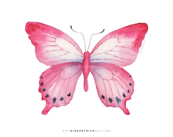 Pink Butterfly Painting, Pink Butterfly Print, Original Pink Watercolor Butterfly, Pink Butterfly Wall Decor, 108 Pink Laglaizei Butterfly