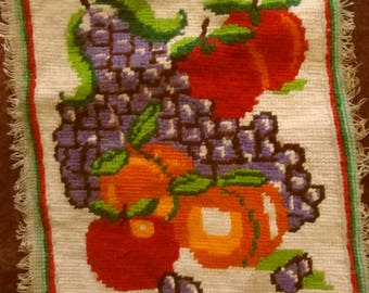 3 Vintage Needlepoints with Fruit