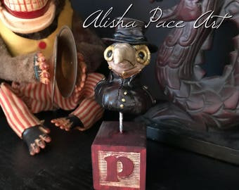 Creepy sculpture Plague Doctor art cute steampunk bust bird mask polymer clay figurine