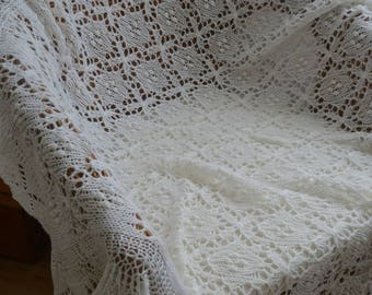 Christening shawl, knit lace baby blanket, heirloom blanket baby shower gidt READY TO SHIP