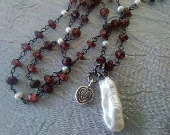Garnet and Freshwater Pearl Heart Necklace
