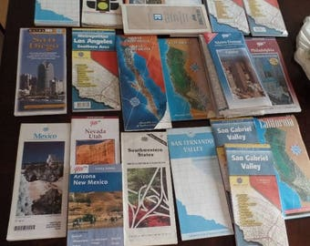 30% OFF SALE Map Cartography Lot USA California Los Angeles Mexico Mix of 23 Diy Decoupage Display