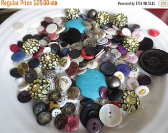 30% OFF SALE Huge Button Lot Vintage Assortment in Owl Storage Tin Over 1 LB Variety