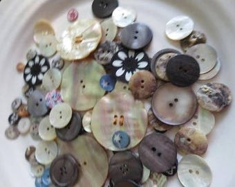 Seashell Buttons Mother of Pearl (107) Off White Gray Pink Blue Black Printed Crowns Stars Flowers Assortment DIY Sewing Suppli