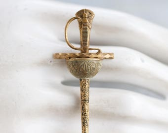 Damascene Sword Lapel Pin - Antique Brass Brooch - Challenged to a Duel
