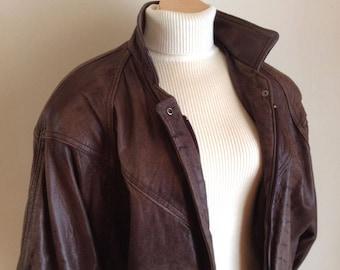 1980's Distressed Leather Jacket, Ladies Brown Bomber Style Jacket, Size Medium