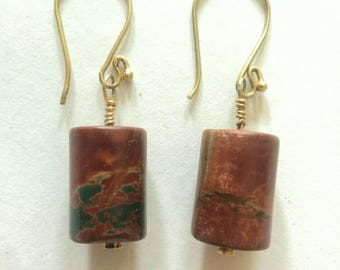 Hand Made Picasso Jasper Cylinder Dangle Earrings with Vermeil Wires