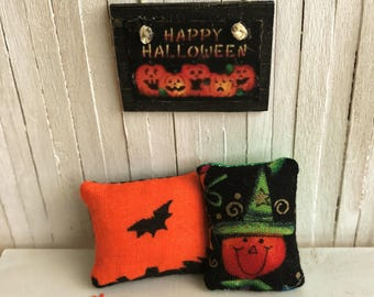 """Miniature Halloween Pillow Set - One With A Little Bat and One With A Cute Pumpkin - And A """"Happy Halloween"""" Sign"""