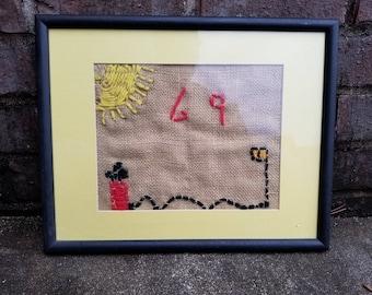 Old Needlepoint Canvas - Sunny 69