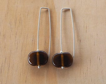 Long recycled glass earrings. Glass Beads made from a Beer Bottle