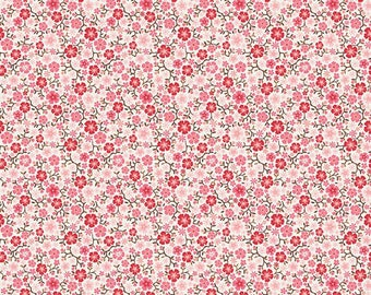 04503- Riley Blake Cowgirl collection C5639 Floral in Cream color- 1/2 yard -  half yard