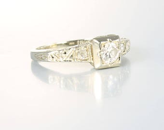 Antique Diamond Engagement Ring, 18K White Gold Art Deco Wedding Ring, antique jewelry
