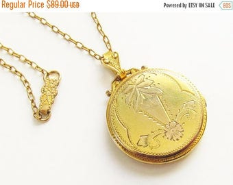 ON SALE Antique Etched Double Photo Locket Necklace Gold Filled signed