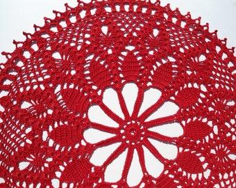 """Red crochet doily, crochet lace doily, lace centerpiece, 14"""""""