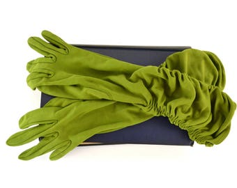 1960s Green Dinner Length Gloves, Ruched Sides, Formal Evening Gown Gloves
