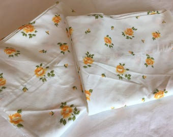 Vintage Pillowcases, Yellow Roses, Glamping