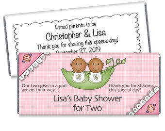 Set of 12 - Sweet Pea Twin Baby Shower Candy Bar Wrappers - Sweet Pea Baby Shower Favors - Boy or Girl Shower Favors