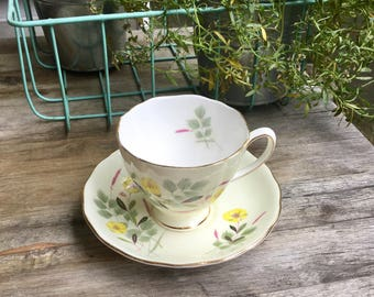 Vintage footed teacup and saucer