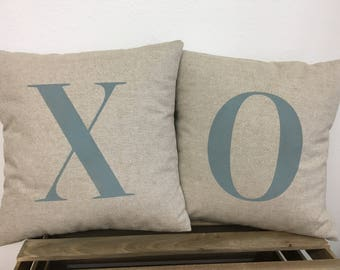 X O Pillow Covers 14x14 - Cottage Style Painted Throw Pillows - Fabric and Paint Colors of Your Choice