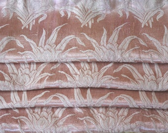 """Satin Brocade Curtains, Pre-WWII, Dusty Rose, 73""""l. x 30""""w."""