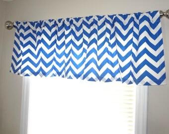 Curtain Valance Topper Window Treatment 53x15 Cobalt Blue & White Zig Zag Chevron Valance Royal Blue
