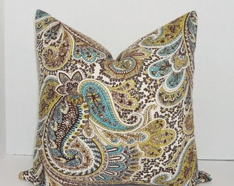 FALL is COMING SALE Paisley Print Pillow Cover Lime Green Blue Brown Paisley Decorative Throw Pillow Cover 18x18