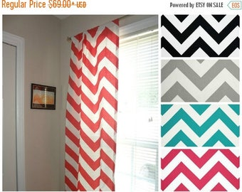 Superb FALL Is COMING SALE Curtain Panels Zippy Chevron Large Print Zig Zag  Curtains Yellow Mint Pink