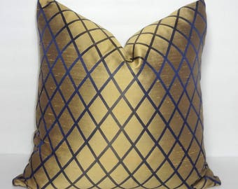 INVENTORY REDUCTION Gold Navy Sateen Satin Diamond Geometric Pillow Cover Couch Throw Pillow Holiday Gold Size 18x18
