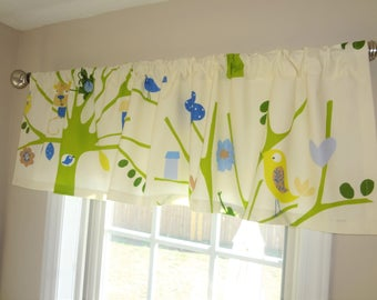 Curtain Valance Topper Window Treatment 52x15 Blue Green Ivory Trees Animals Birds Nursery Valance Home Decor