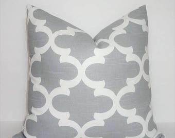 SPRING FORWARD SALE Grey & White Moroccan Geometric Print Pillow Covers Decorative Throw Pillow Covers All Sizes