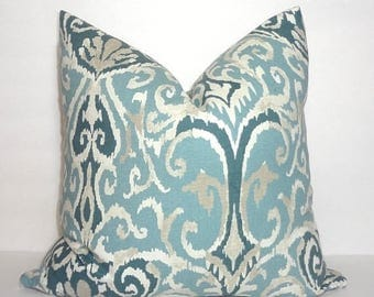 SPRING FORWARD SALE Blue Slate Ivory Ikat Magnolia Floral Pattern Pillow Cover Couch Cushion 18x18