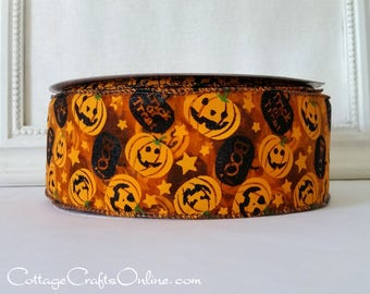 "Halloween Wired Ribbon, 2 1/2"", Orange Jack O'Lanterns, Black Glitter Pumpkin on Sheer - FIFTY YARD ROLL - Offray, ""Ozzie"" Wire Edged Ribbon"