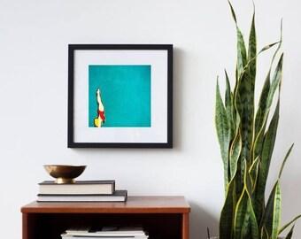 framed art, mid century art print, framed wall art, bright, modern - High Dive, framed photography art print