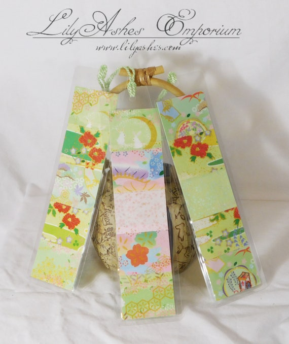 Green Series Japanese Washi Paper Laminated Bookmark with Tassel