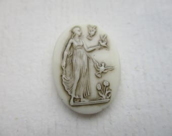 Vintage German Ivory Glass Cab Roman Goddess Diana 25x18mm 1Pc.
