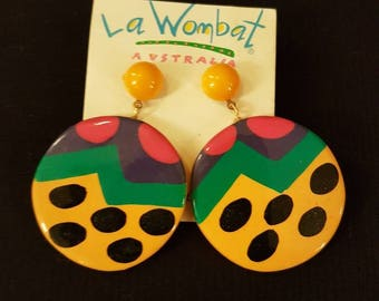1980's bright and colourful stud  earrings.